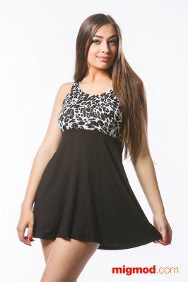 Черно бяла дамска рокля с висока талия