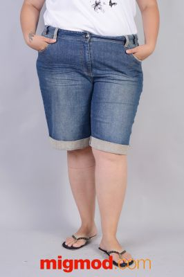 Дамски къси дънки голям размер