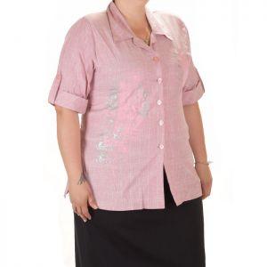 Розова дамска риза с къс ръкав голям номер