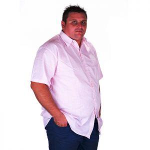 Мъжка риза на бледо розово каре макси номер