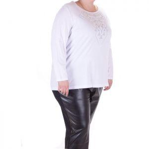 Бяла дамска блуза голям размер