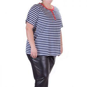 Макси размер дамска блуза с къс ръкав