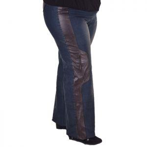 Дамски дънки с кожена апликация макси размер