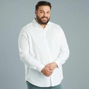 Бяла мъжка риза макси размер