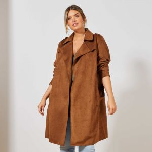 Дамски шлифер от еко велур макси размер