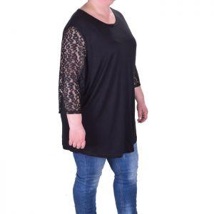 Голям размер дамска блуза с дантелени ръкави