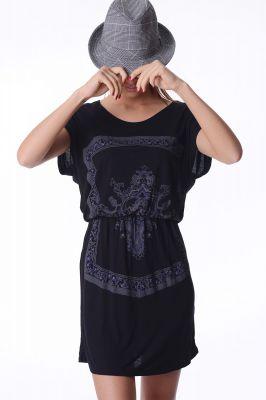 Черна рокля с щампа